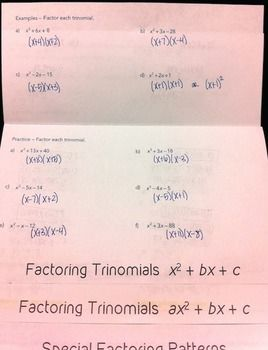 Factoring Polynomials Flipbook | Resources for High School