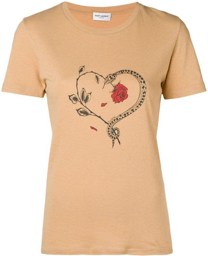 estampado Saint la corazones de con Camiseta serpiente de Laurent de TwRS1