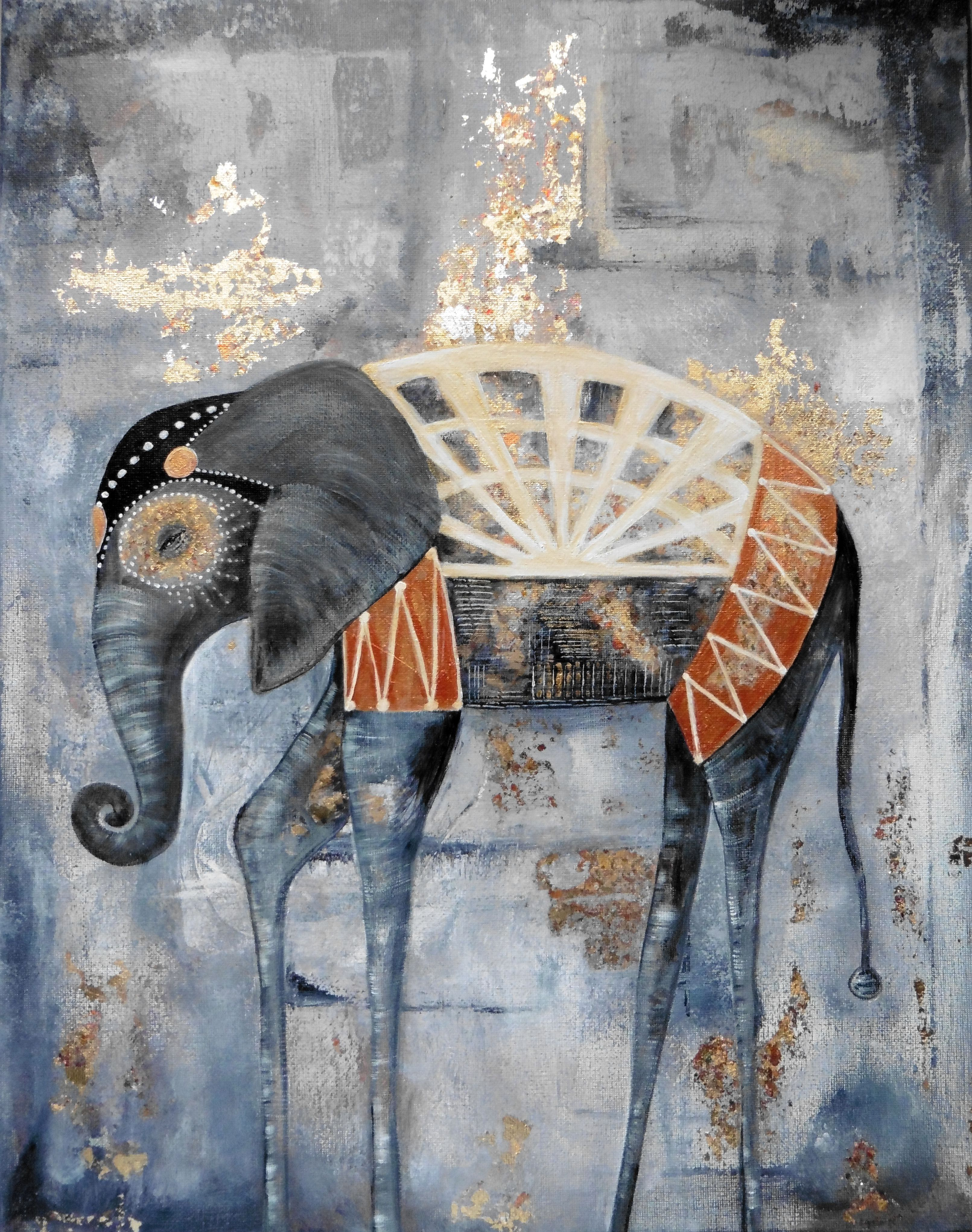 Abstract Elephant Painting With Gilding Flakesgold Leaf By Abigail Yarworth