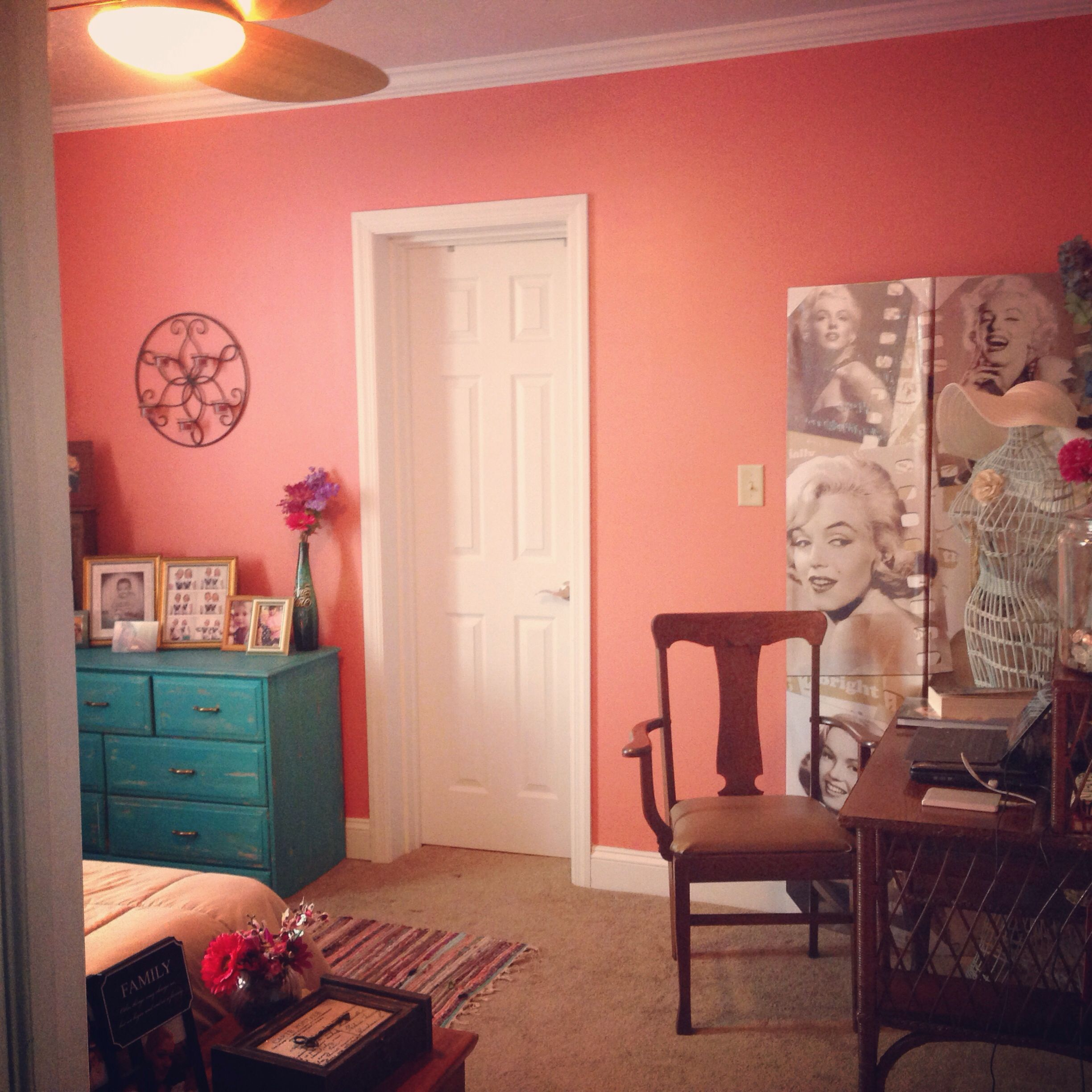 Behr Mellow Coral, Refurbished Teal Dresser Eclectic (Paint For Chair