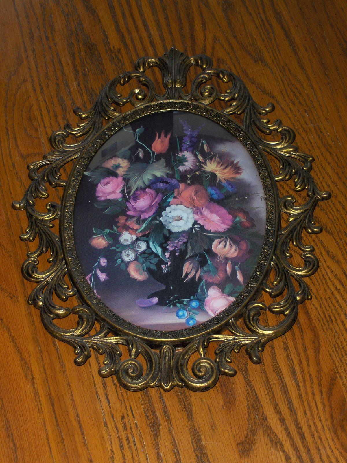 Vintage oval convex bubble glass floral picture brass frame glass vintage oval convex bubble glass floral picture brass frame jeuxipadfo Images