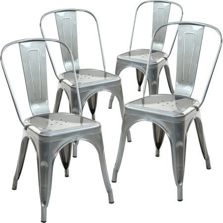Peachy Poly And Bark Trattoria Side Chair In Polished Gunmetal Set Bralicious Painted Fabric Chair Ideas Braliciousco