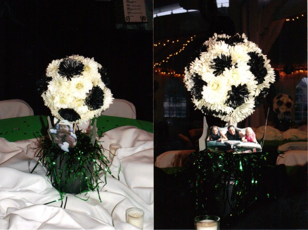 Soccer Themed Wedding Ideas: Soccer Ball Topiaries For Centerpieces