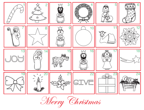 FREE Advent Christmas December Coloring Calendar for Kids | 100 ...