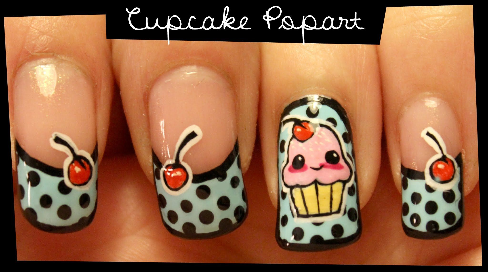 How to paint cupcake popart nail art manicure at home step by step cupcake popart nail art no stickers solutioingenieria Choice Image
