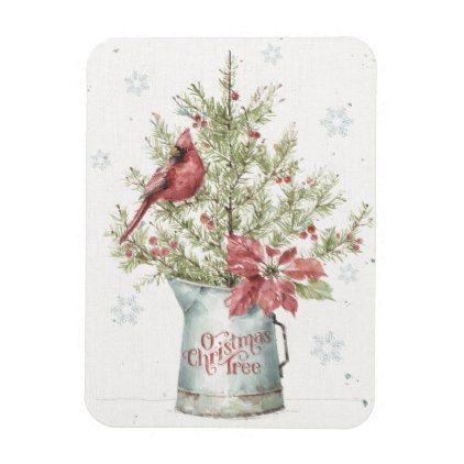 Farmhouse Christmas Tree with Cardinal Magnet | Zazzle.com #smallchristmastreeideas