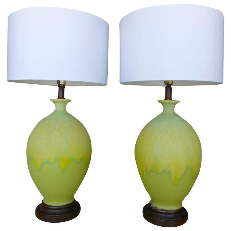 Yellow Lime Green Midcentury Ceramic Lamps Pair With Images Green Table Lamp Lamp Ceramic Lamp