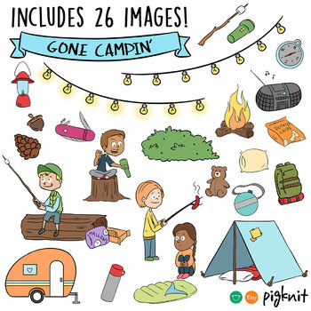 Camping Clipart Summer Kids Set Of 26 Images With Bw Line Art