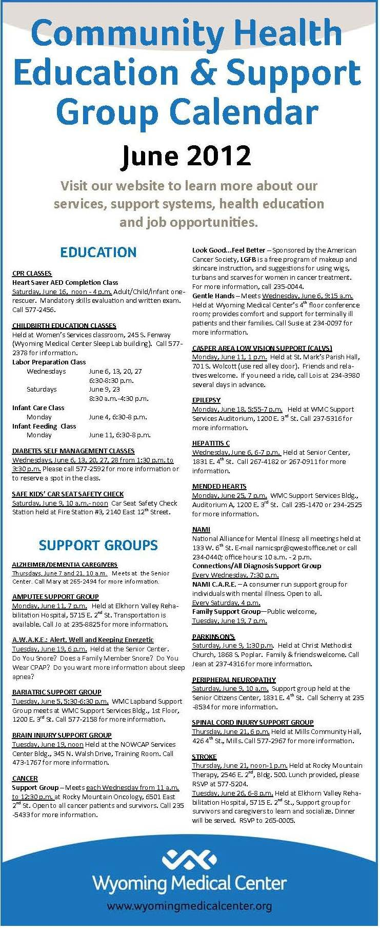 Monthly Education and Support Group Calendar for June 2012