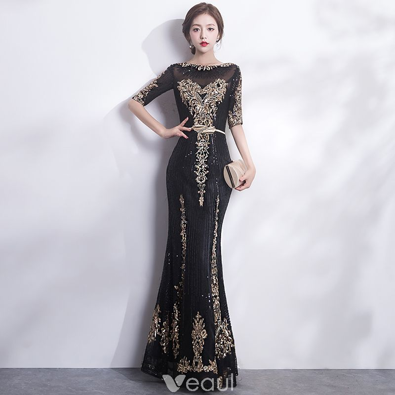 Sparkly Black Gold Evening Dresses 2017 Trumpet / Mermaid Scoop Neck ...