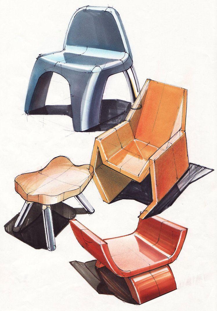 Chair Sketches By Marinlicina Interior Design SketchesIndustrial