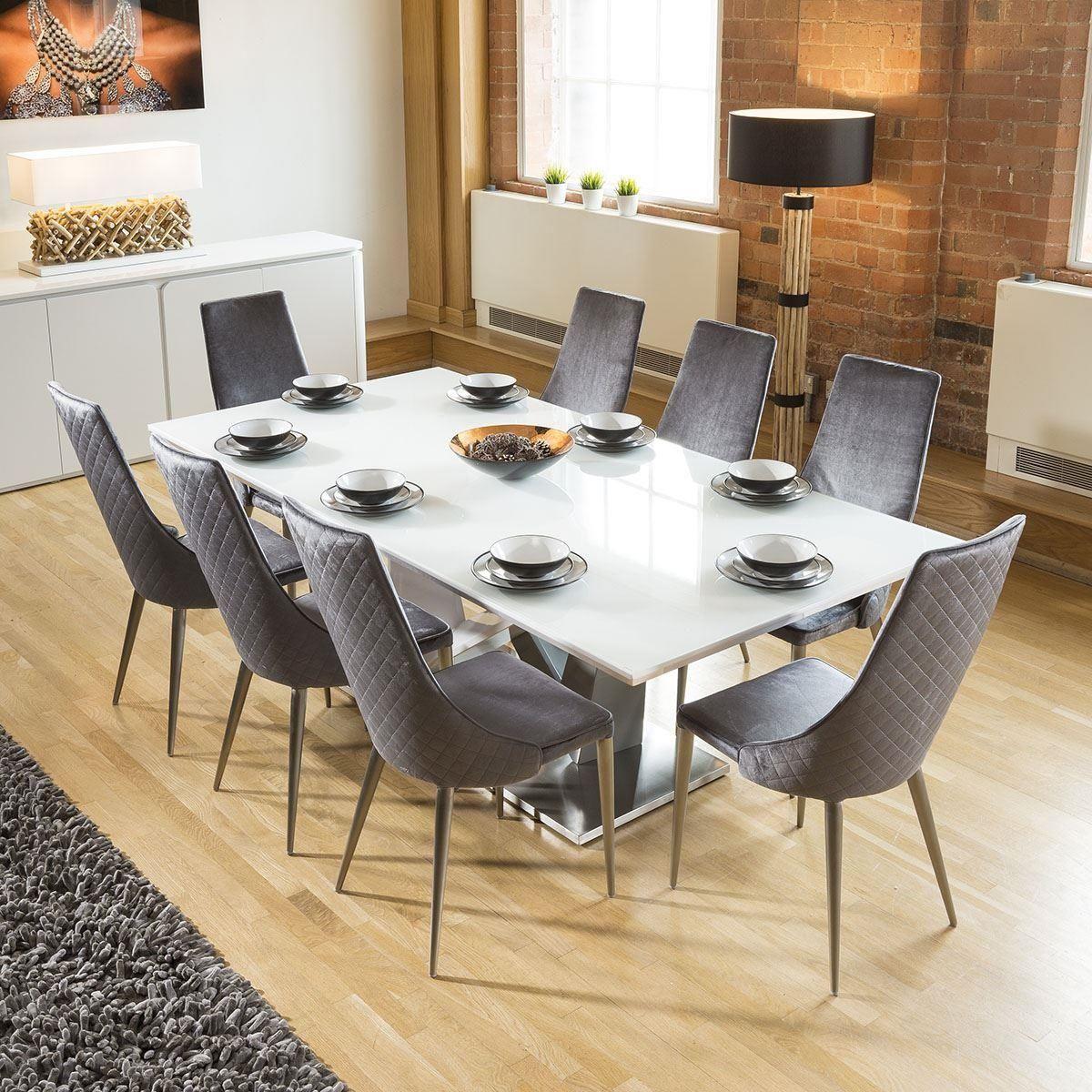 Huge 8 Seater Dining Set 2 2 White Glass Top Table 8 Grey Velvet Chair In 2020 White Dining Set Modern Dining Table Dining Table Chairs