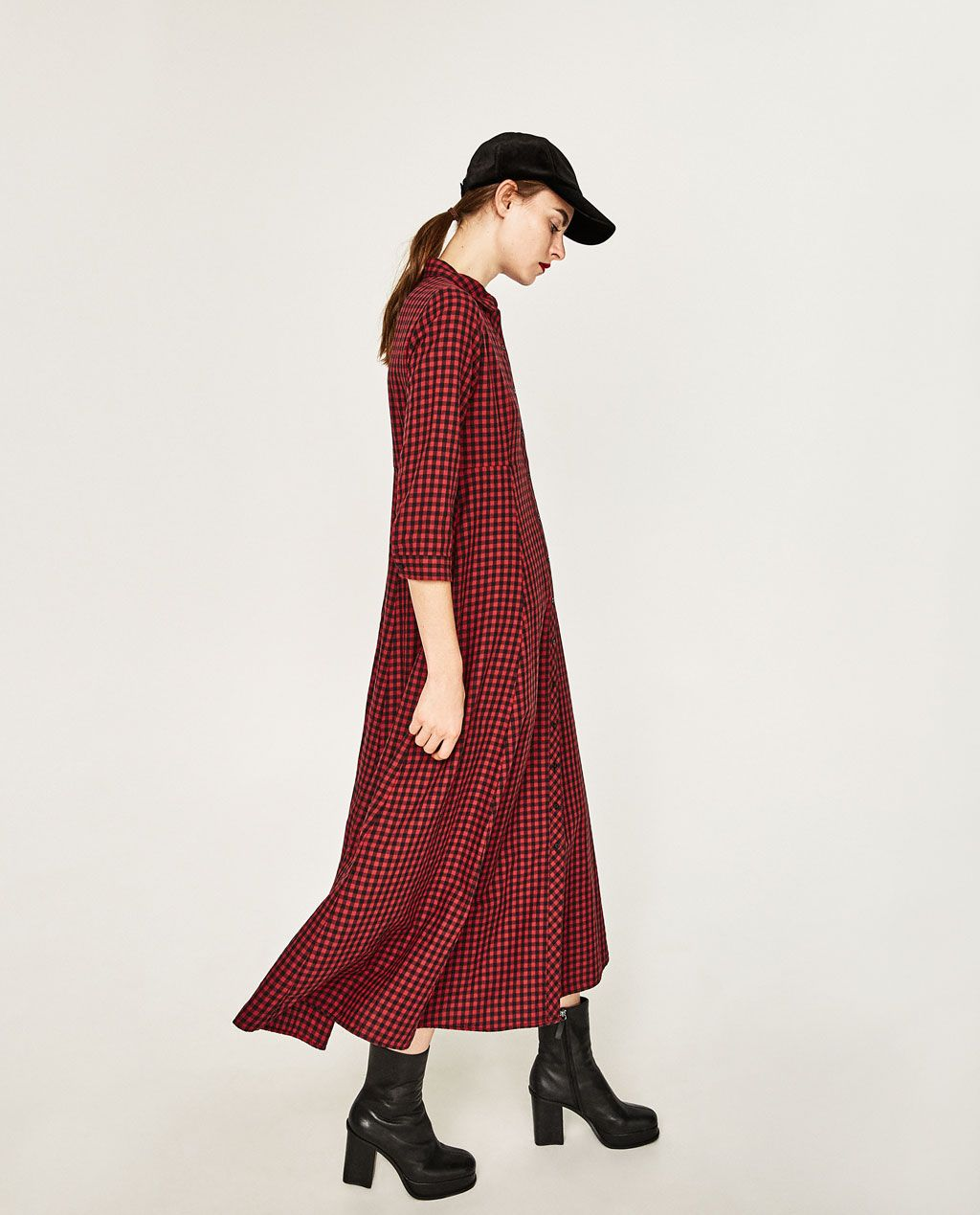 f680c4c1 CHECK SHIRT DRESS | Dresses | Zara dresses, Dresses, Denim shirt dress