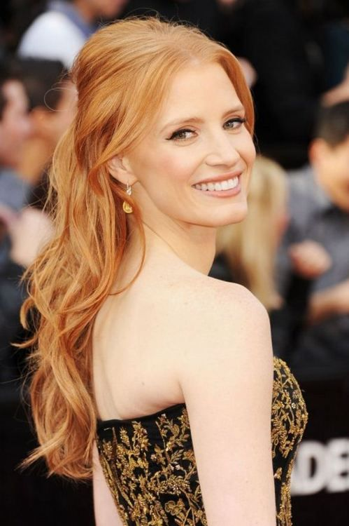 Jessica Chastain Love This Hair Color Oscar Hairstyles Strawberry Blonde Hair Strawberry Blonde Hair Color