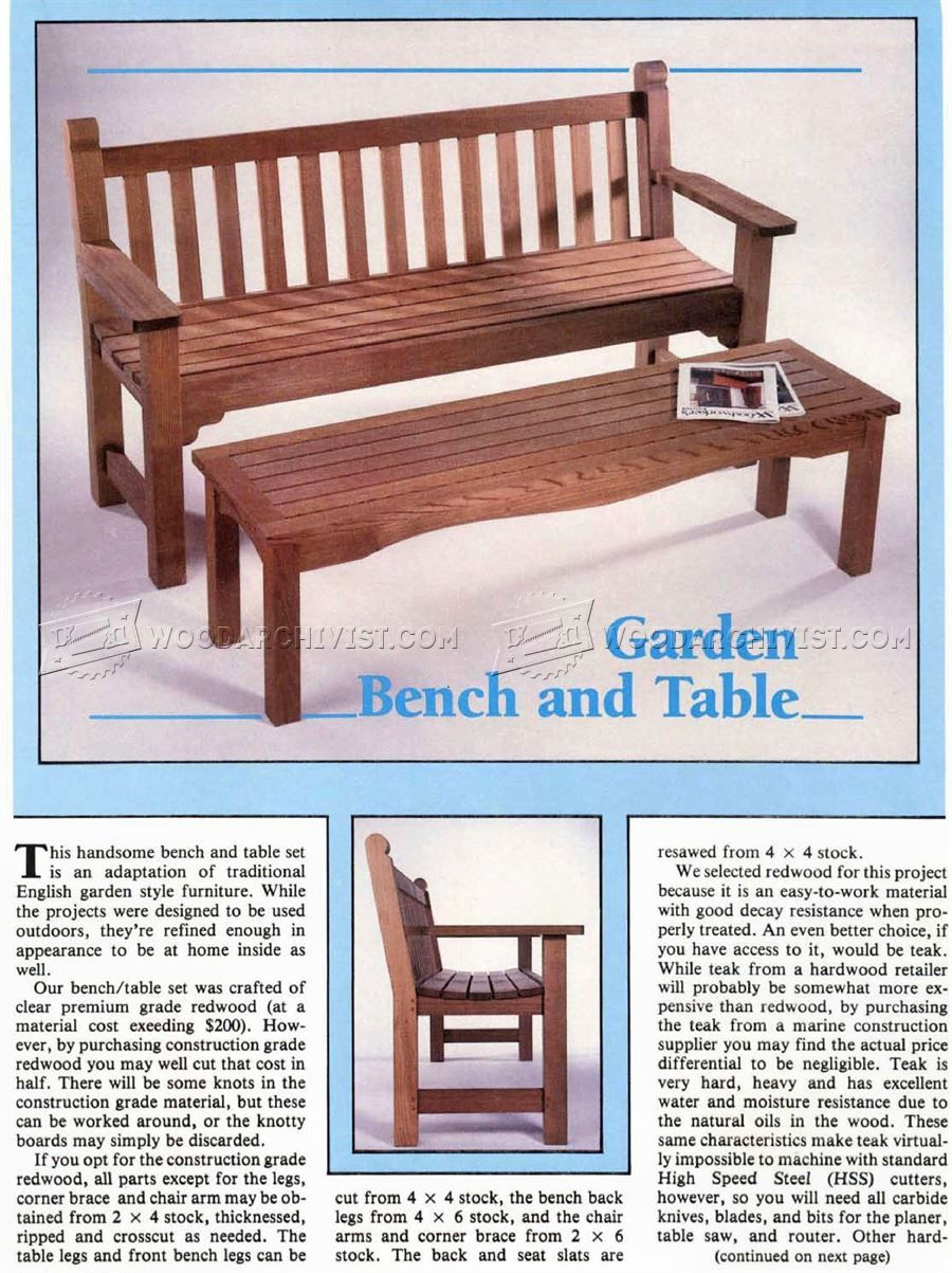 Garden Bench And Table Plans Outdoor Furniture Plans