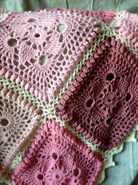 BabyLove Brand Antique Roses Baby Crochet Blanket/Afghan, shabby ...
