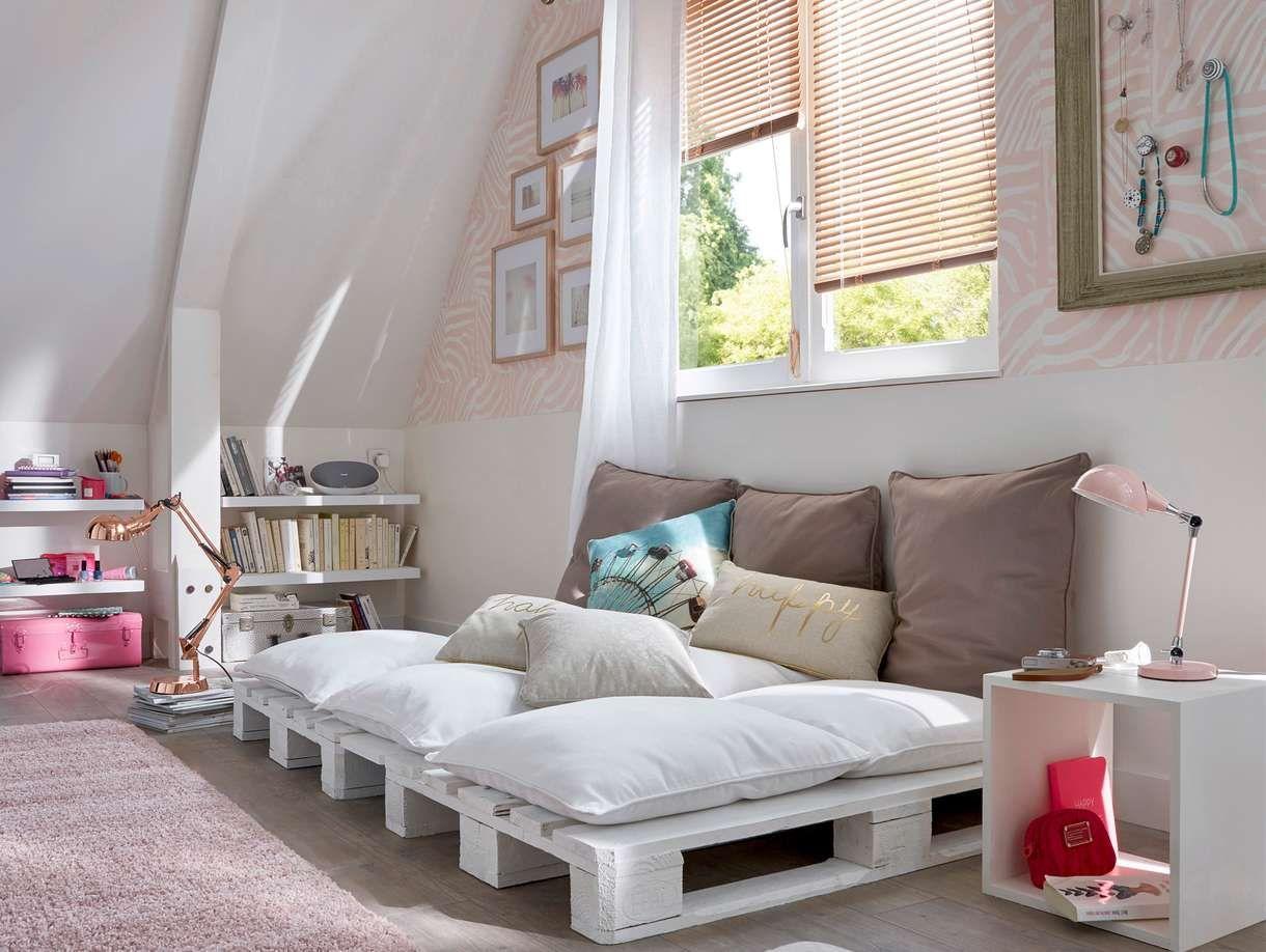chambre ado tons pastel lit palette castorama d co. Black Bedroom Furniture Sets. Home Design Ideas