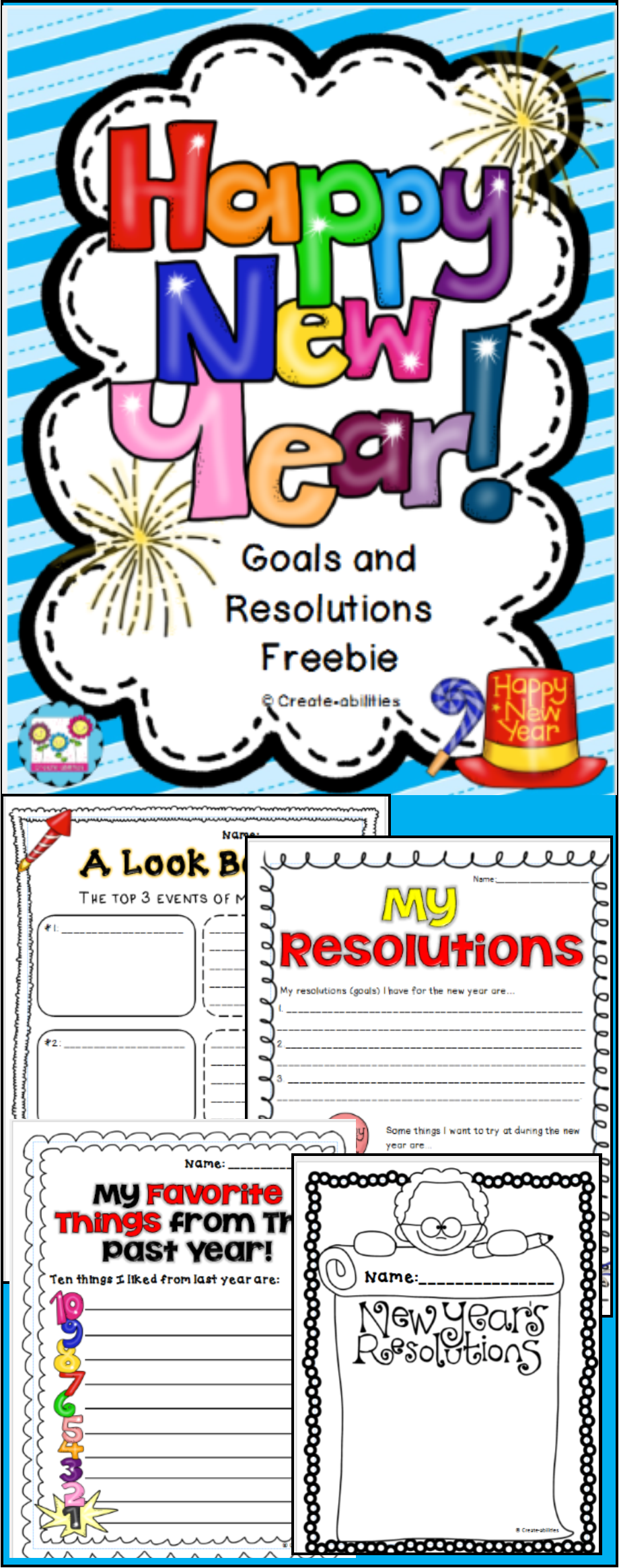 New Year S Resolutions And Goals Freebie New Years Activities Writing New Years Resolution