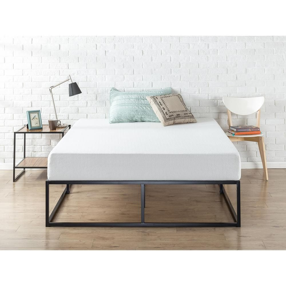 Zinus Joseph Black Metal Twin 14 In Platform Bed Hd Mbbf 14t The Home Depot Platform Bed Frame Steel Bed Frame Metal Platform Bed