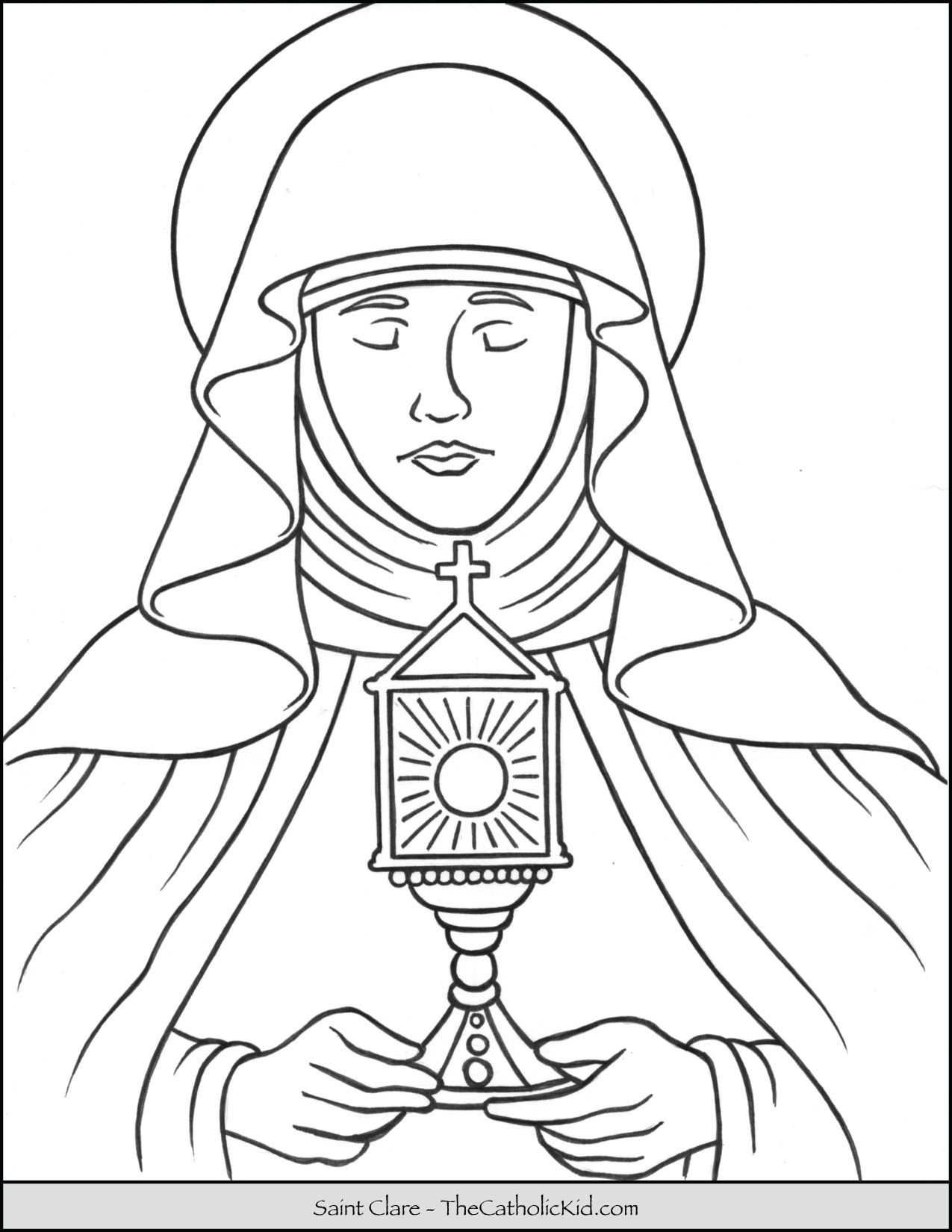 Saint Clare Coloring Page Thecatholickid Com Coloring Pages