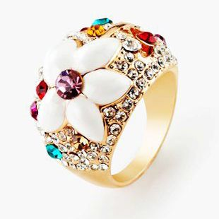 18K Rose Gold Plating Multicolor Round Flower Shape Engagement Rings