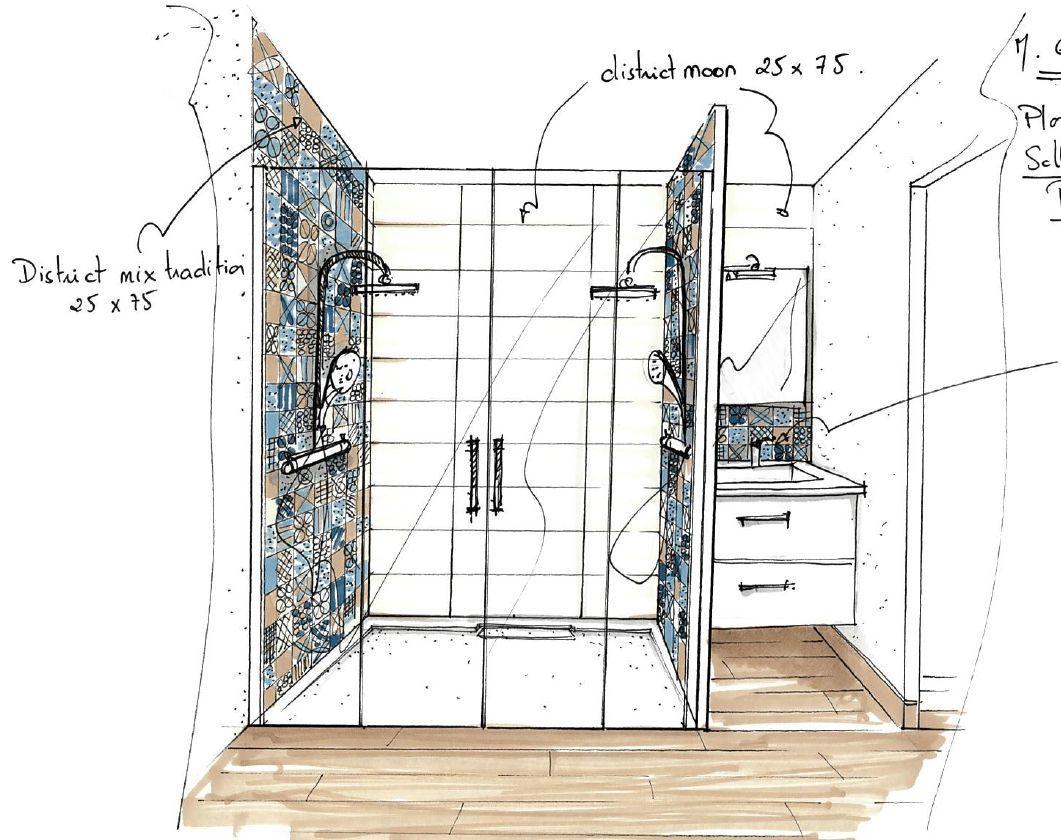 Croquis salle de bain de la suite parentale salle de for Croquis de salle de bain
