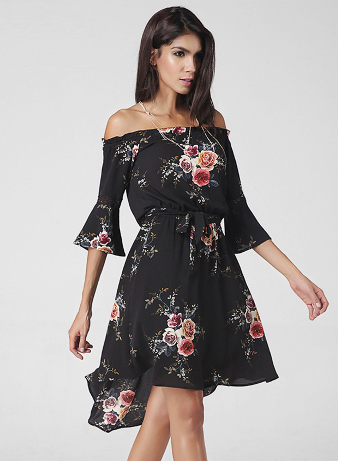 9b3f30114aa1 Black Floral Print Slash Neck Dress - OASAP.com