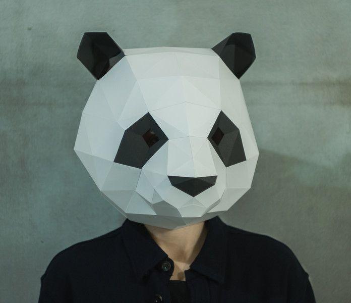Crafting Tutorials U2013 Paper Panda Mask,DIY 3D Mask,PDF,Pattern,Template  Paper Face Mask Template