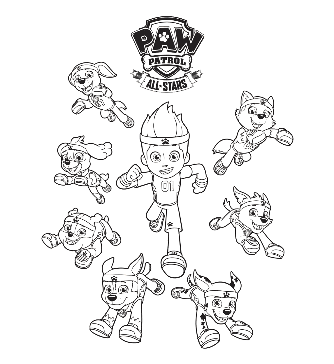Paw Patrol All Stars Coloring Page Coloring Pages Pinterest