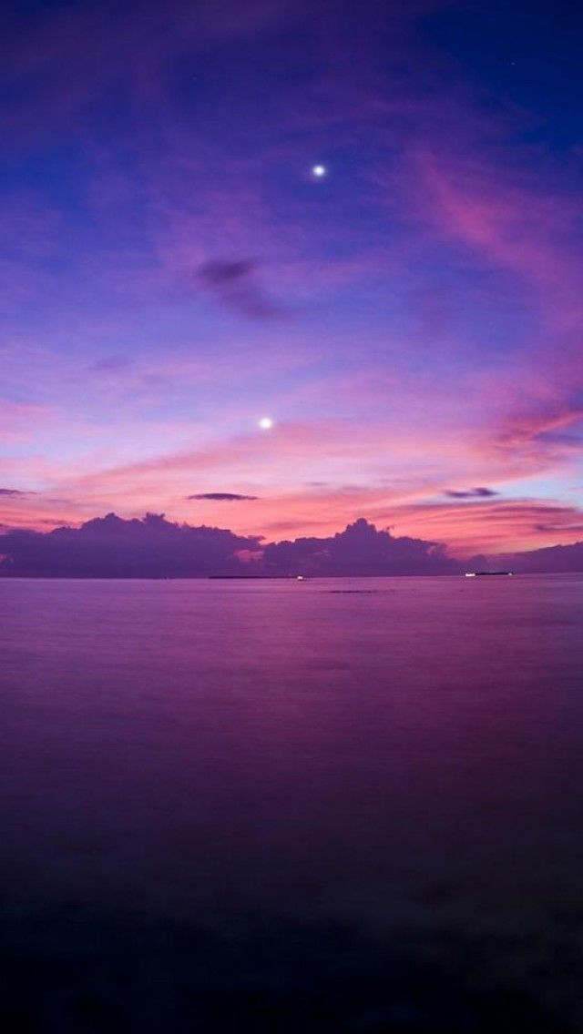 Purple Sunset,Ocean, Horizon, Landscape iPhone