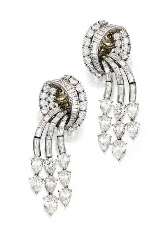 Platinum and Diamond Pendant-Earclips, Cartier, Circa 1951.