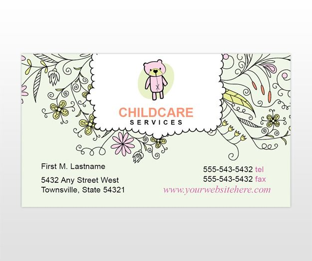 Childcare and babysitting business card template cakepins childcare and babysitting business card template cakepins free business card templates templates printable fbccfo Gallery