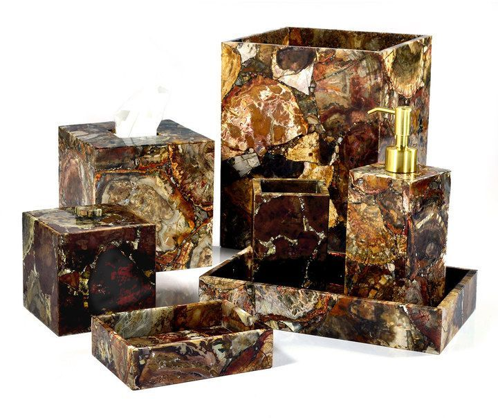 Mike & Ally Petrified Wood Tissue Box Cover