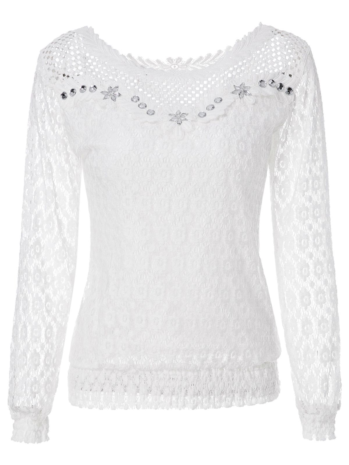 a33c7ba1a0c1d Stylish Scoop Neck Long Sleeve Openwork Blouse For Women - White - L ...