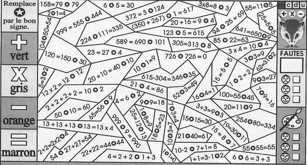 Un coloriage magique pour apprendre en s'amusant les différents calculs. Un moyen ludi ...