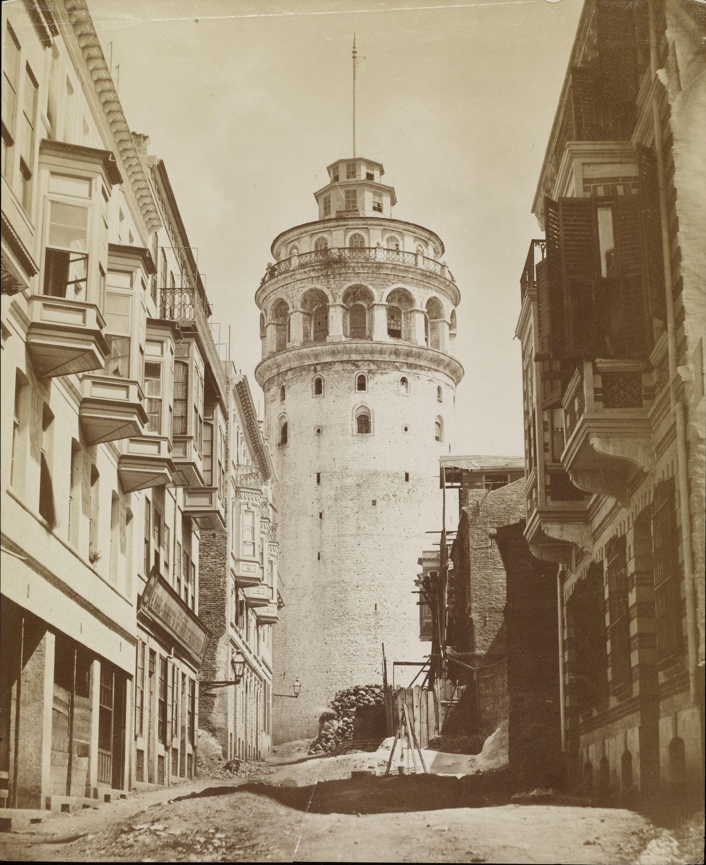 buyukhendek caddesi nden galata kulesi abdullah freres fotografi eski istanbul fotograflari arsivi istanbul fotograf hagia sophia