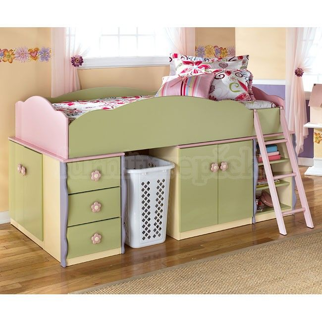 Doll House Open Space Loft Bed W Drawers And Door Storage