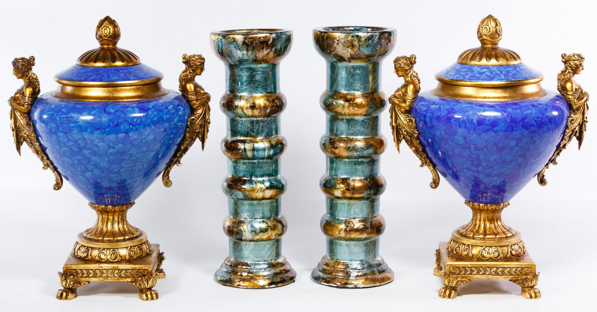 "Lot 537: Decorative Vase Assortment; Including a pair of painted plaster pillar vases and a pair of ceramic and plaster classical style urns with ""Made in China"" decal on the undersides"