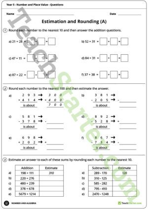 Number and Place Value Worksheets – Year 5 | Mathematics Assessment ...