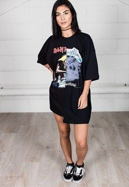 2dc89afd6a14c Cosmic Saint Iron Maiden Metallica reconstructed T-shirt dress. | My ...