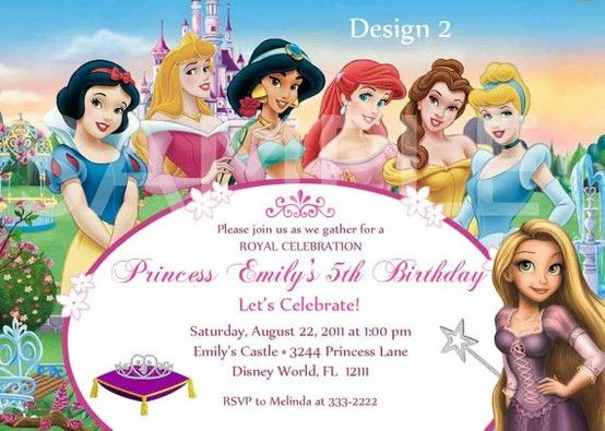 Ella Jane's birthday invitation for her princess party. Got this off Etsy. Tough to find the mulit Disney Princess theme with Rapunzel. E.J. wanted Tinkerbell, too so they added a cute Tinkerbell to the design. kids-birthday