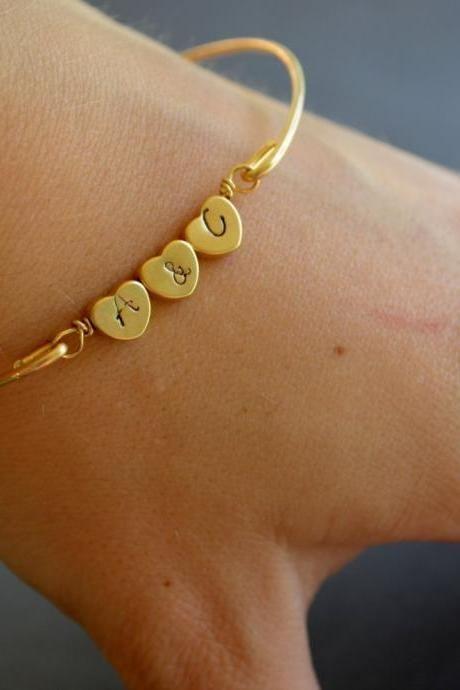 Personalized Triple Heart Bangle Bracelet-Gold Personalized Heart Bangle…