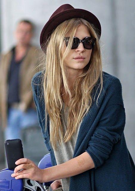 blue, cardigan, celebrity, clemence poesy, clemence xx, fashion, hat, red, style, sunglasses