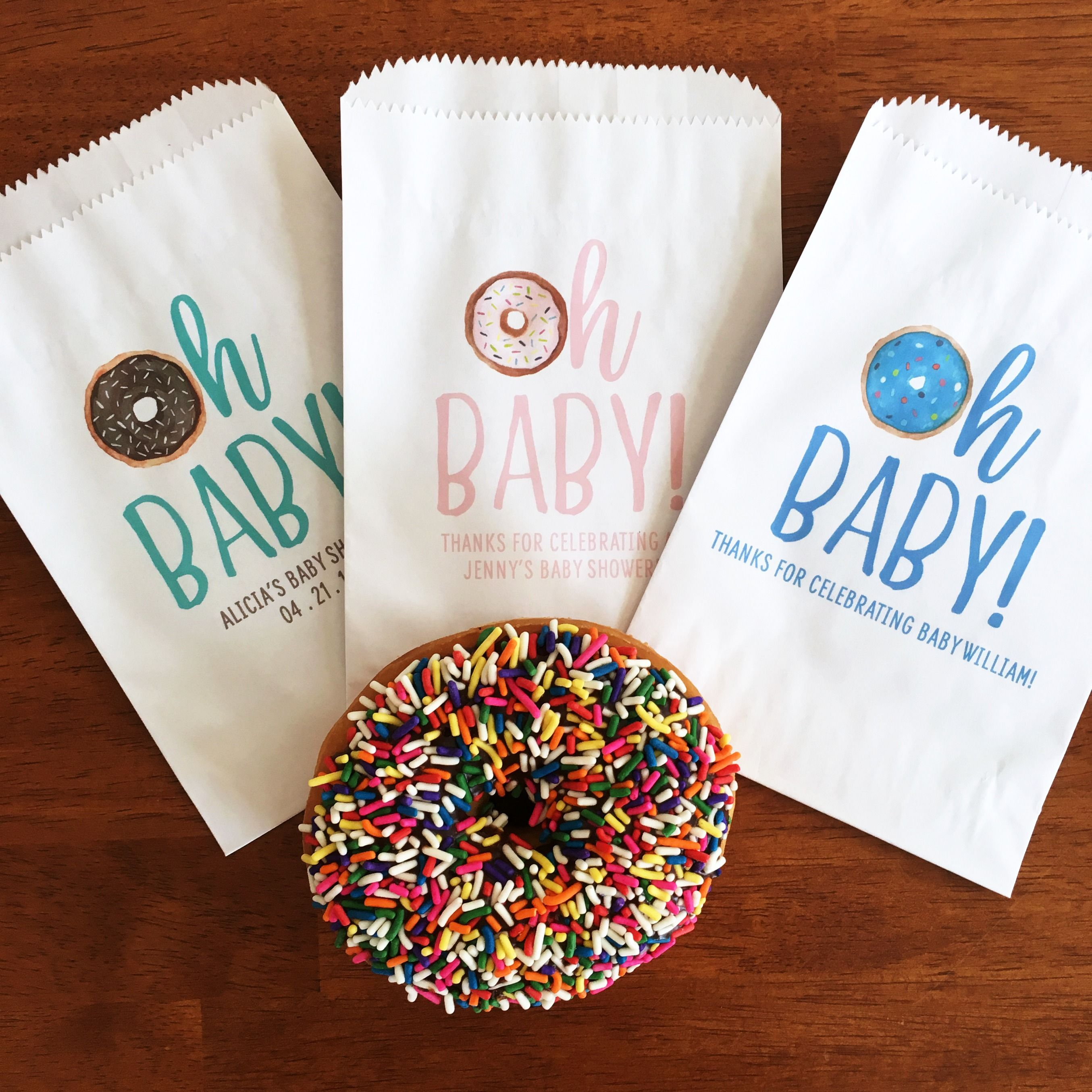 Love These Baby Shower Favors Donut Favor Bags Themed Gender Neutral Sprinkle Oh Treat