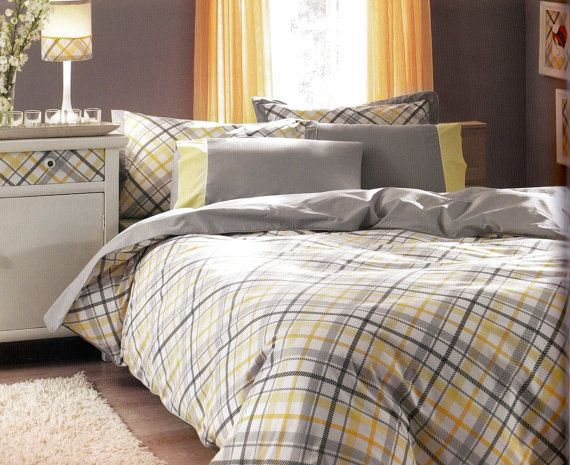 Custom Queen Size Grey And Yellow Checked Printed By