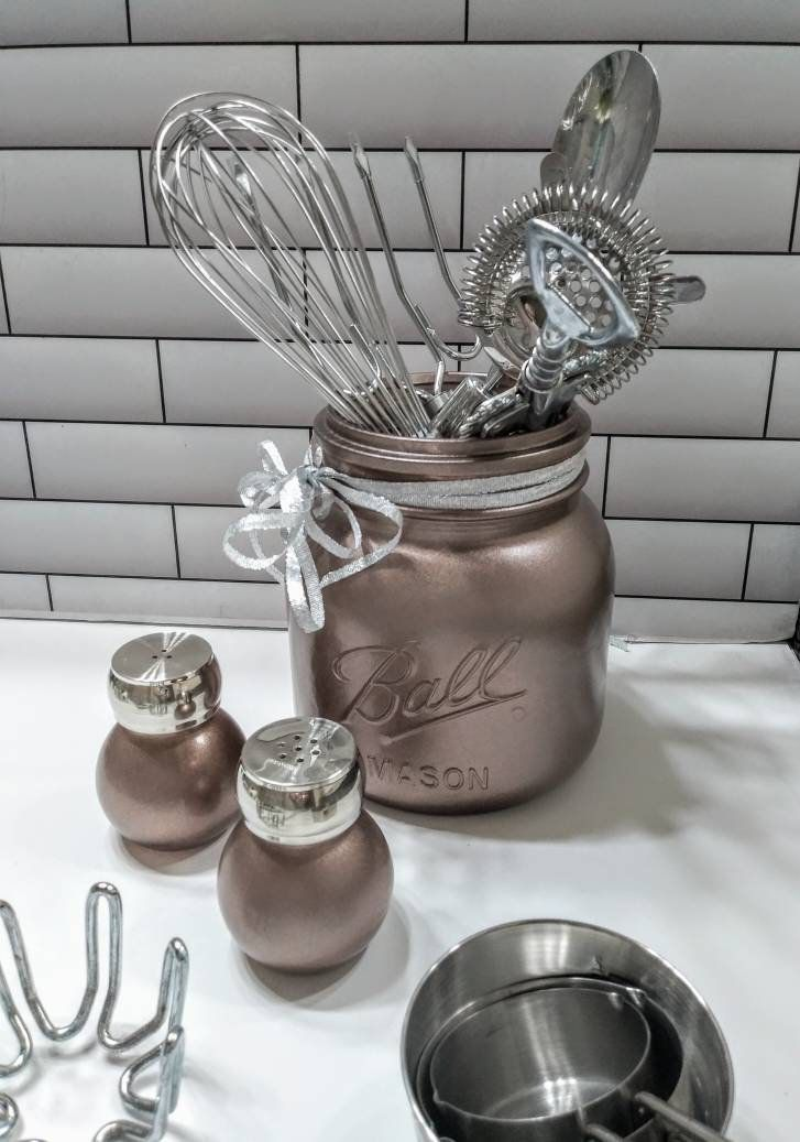 aged copper rustic modern farmhouse kitchen mason utensil holder or cookie jar salt pepper in on farmhouse kitchen utensils id=77341