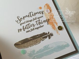 Stampin' Up! Feather Together and sequins from June Paper Pumpkin. Debbie…