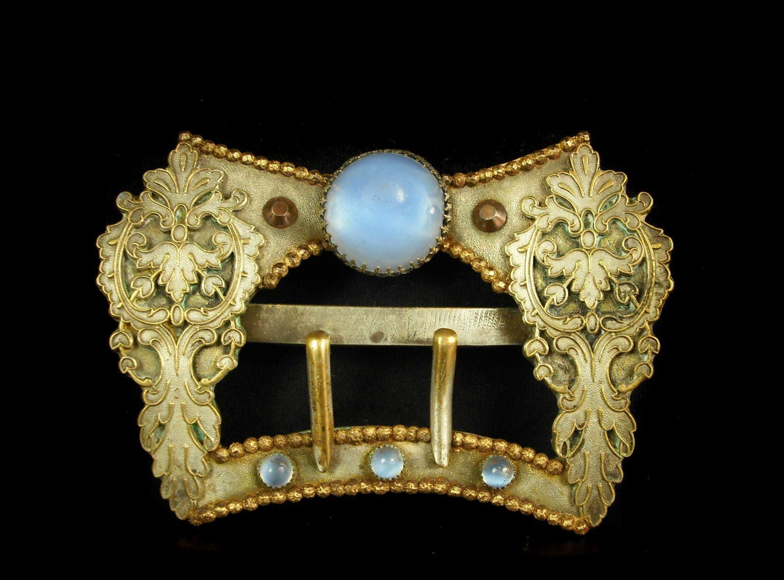 1fbd8732df18 Ancienne boucle de ceinture c 1900 laiton argenté et verroterie belt buckle  in Art, antiquités, Objets du XIXème, et avant   eBay