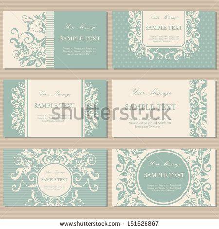 Conjunto de seis vendimia de visita tarjetas, invitaciones o avisos florales.