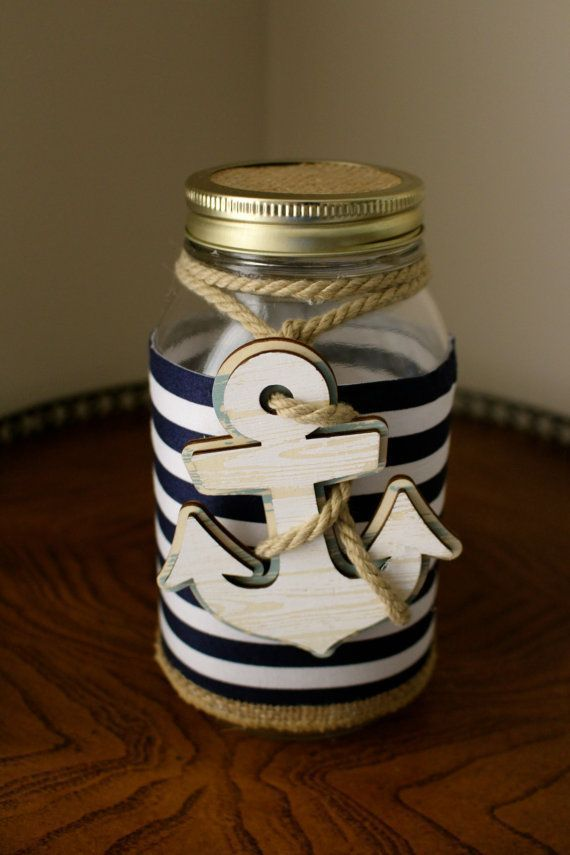 Items Similar To Nautical Mason Jar On Etsy In 2020 Nautical Baby Shower Jar Crafts Mason Jar Decorations